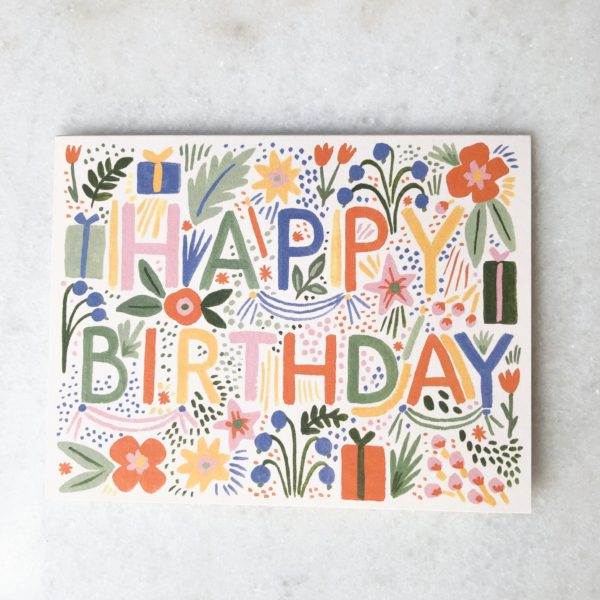 Carte Anniversaire Flowers Party