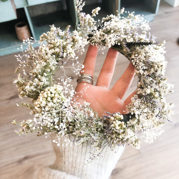 Couronne fleurs séchées - White