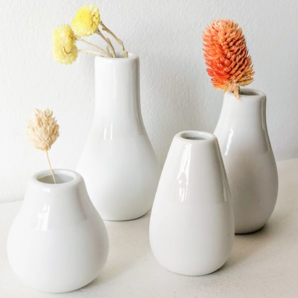 Set de 4 mini vases blancs