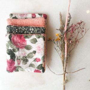 Cotons à démaquiller réutilisables - Roses