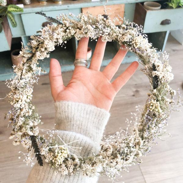 Couronne fleurs séchées White - Grand modèle