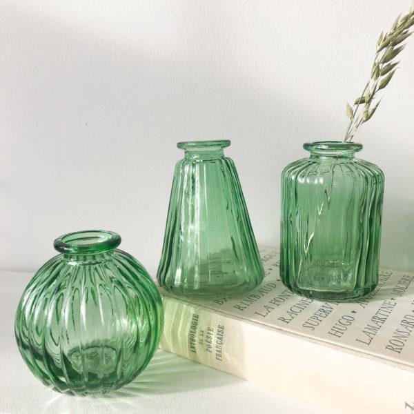 Set de 3 mini vases verts