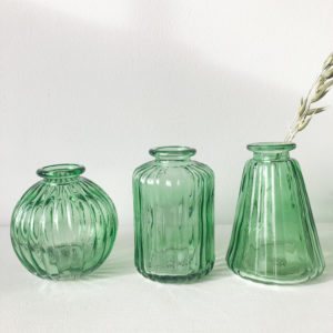 Set de 3 mini vases verts