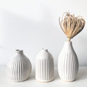 Set de 3 mini vases blancs