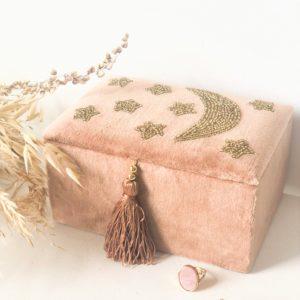 Boîte à bijoux en velours Lune - Petit modèle