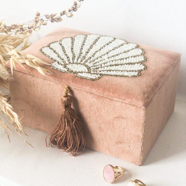 Boîte à bijoux en velours Coquillage- Petit modèle