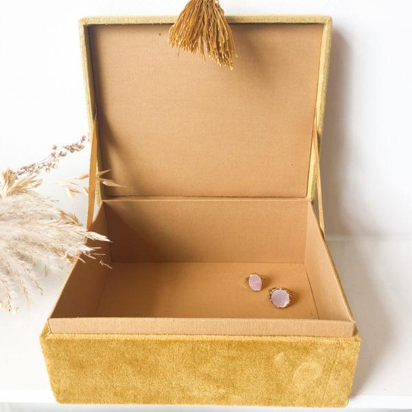 Boîte à bijoux en velours Coquillage Safran