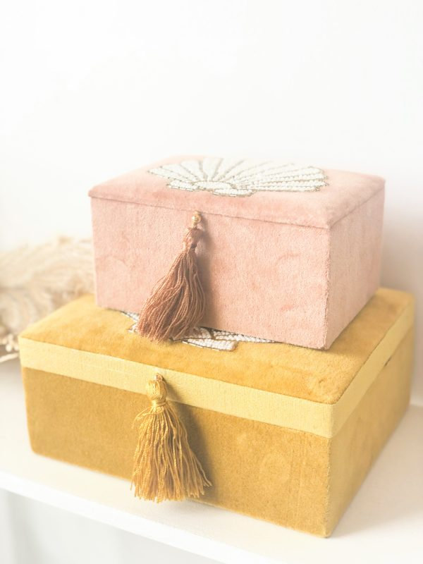 Boîte à bijoux en velours Coquillage