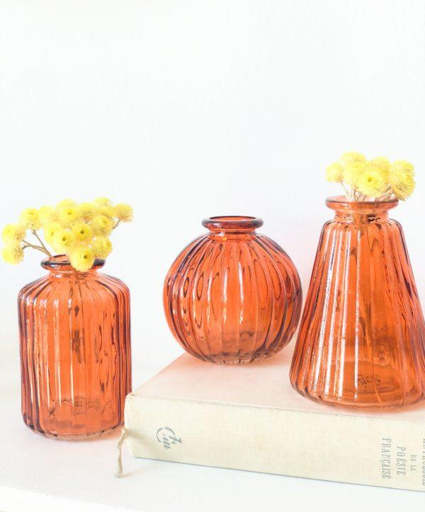 Set de 3 mini vases ambre