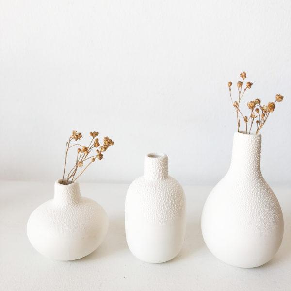 Set de 3 mini vases perlés
